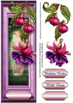 Large DL Fuschia Framed on Craftsuprint designed by Anne Lever - This lovely large dl sized topper features a gorgeous fuschia bloom on a purple wooden frame. It has a single layer of decoupage to add depth, two greetings and a blank greetings tile. The greetings are birthday wishes and with love.  - Now available for download!