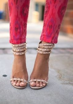 pink patterned jeans + nude studded strappy heels