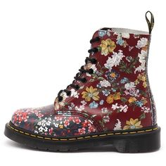 Dr. Martens Pascal Floral 8 Eye Boot Multi ($215) ❤ liked on Polyvore featuring shoes, boots, ankle booties, floral booties, floral boots, dr martens boots, slip resistant boots and leather ankle booties