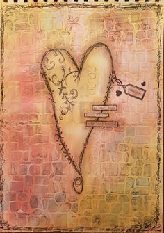 #artjournal #mixedmedia #heart  Background stencil and modelling paste, acrylic paint, drawing with fineliner, stamps and stickers. By Reanna.