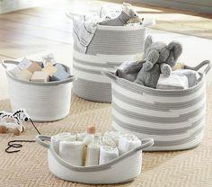 Gray and White Rope Storage Basket