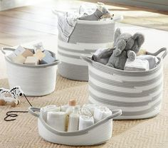 Gray and White Rope Storage Basket