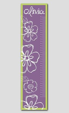 Personalized Purple and Lime Growth Chart- Vinyl Print Growth Charts for Girls Nursery and Childen Decor Growth Chart Ruler, Growth Charts, Baby Girl Room Decor, Girl Nursery, Growth Chart For Girls, Personalized Growth Chart, Kids Wood, Nursery Wall Decals, Wooden Letters