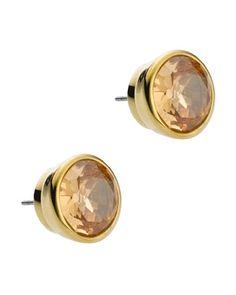 Michael Kors Crystal Stud Earrings, Golden.