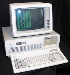 1984 IBM computer: floppy drive & 20+ MB hard drive; price approx. 6,000