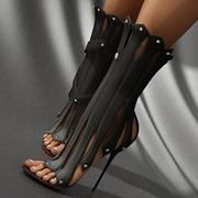 Shoespie Space Age Falbala Shape Stiletto Heel Dress Sandals