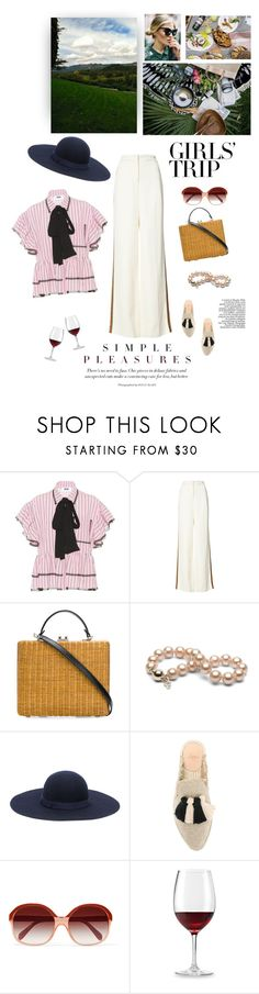 """""""Simple Pleasures"""" by iriadna ❤ liked on Polyvore featuring MSGM, Derek Lam, Rodo, A.P.C., Castañer, Oliver Peoples, Wine Enthusiast, girlstrip and WineTastingOutfit"""