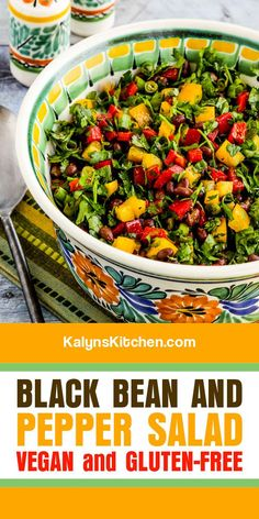 Black Bean and Pepper Salad has cilantro and lime, and the updated recipe has more peppers than beans for a more carb-conscious version of this tasty salad! [found on KalynsKitchen.com] #BlackBeanPepperSalad #BlackBeanSalad Easy Appetizer Recipes, Healthy Appetizers, Healthy Eating Recipes, Cooking Recipes, Gf Recipes, Quick Recipes, Best Salad Recipes, Summer Salad Recipes, Creamy Spinach Chicken