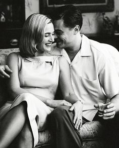 Kate Winslet & Leonardo DiCaprio on the set of, 'Revolutionary Road'.    I wish these two would just get married and be done with it.  They belong together.