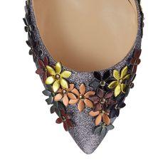 Fine glitter fabric & flower details of the Jimmy Choo LORELAI pump