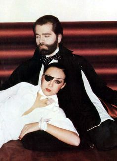 Karl Lagerfeld & Marie Helvin by Bailey, UK Vogue, March 1st 1975