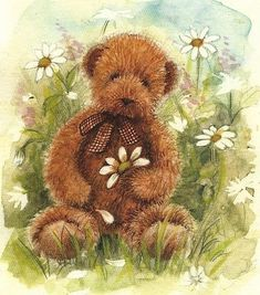 Teddy Bear and Daisies Tole Painting, Painting & Drawing, Art D'ours, Teddy Bear Tattoos, Teddy Beer, Bear Graphic, Bear Illustration, Bear Wallpaper, Tatty Teddy