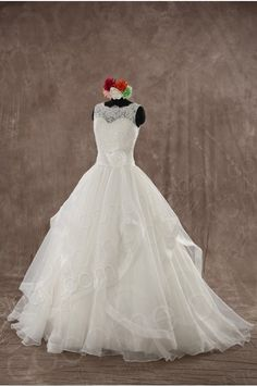 Dramatic A-Line Bateau Natural Floor Length Organza Ivory Sleeveless Wedding Dress with Flower and Tiered LWXF14004 - 2015 Wedding Dresses - Wedding Dresses #weddingdress #cocomelody