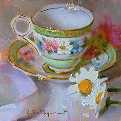 Daisy Teacup by artist Elena Katsyura. #stilllife painting found on the FASO Daily Art Show - http://dailyartshow.faso.com