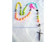 $30.00 Sold  Creative Art Expressions Handmade Neon & Silver Rosary  www.CreativeArtExpressions.com