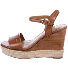 Pre-owned Coach Elda Espadrille Wedge Sandals (4.870 RUB) ❤ liked on Polyvore featuring shoes, sandals, brown, platform espadrille sandals, platform sandals, wedge espadrilles, platform wedge shoes and leather wedge sandals