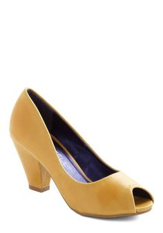 Mango Salsa Heel, #ModCloth  Why am I so attracted to this weird yellow color lately?