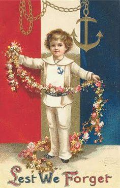 """Lest We Forget"" ~ vintage card for Decoration Day (Memorial Day) ~ sailor boy with flower garland ~ artwork by Ellen H. Vintage Pictures, Vintage Images, Patriotic Images, Patriotic Posters, Doodle, 1 Tattoo, Patriotic Decorations, Patriotic Crafts, July Crafts"