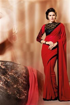 Georgette Maroon Designer party wear saree with blouse