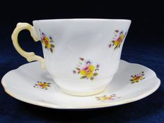 ROSINA Bone China Cup and Saucer CHINTZ Yellow Floral Made in England #Rosina