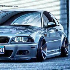 BMW E46 M3 grey widebody slammed