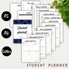 College Student Planner Printable A5 A4 Letter by BeColorfulToday