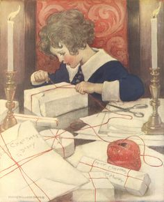 """Wings of Whimsy: Jessie Willcox Smith (1863-1935) - """"Child Wrapping Presents"""""""