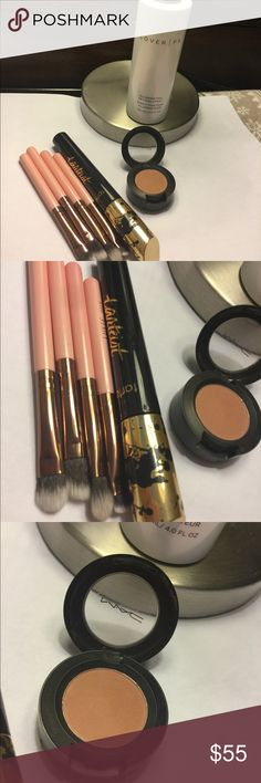New Cover fx illuminating spray, tarte, mac Cover fx illuminating spray, tarte mascara, mac soft brown shadow and four travel size luxie brushes. New never used no box. All full size accept brushes Makeup Luminizer
