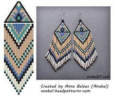 Схема серег из бисера - мозаичное / кирпичное плетение | - Схемы для бисероплетения / Free bead patterns -