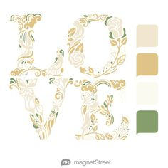 Champagne, Gold, Ivory, and Sage Wedding Color Palette - free custom artwork created at MagnetStreet.com