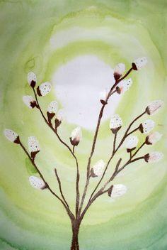 Tämän kauniin ja yksinkertaisen kuvistyöidean bongasin jostain kuvisoppaasta. Ensin tutkitaan pajunoksaa ja piirretään se paperille vah...
