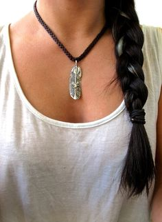 Braided Leather Deerskin Silver Feather Eagle Choker Statement Everyday Necklace (boho edgy hippie hipster indie southwestern tribal chic), free shipping worldwide! by wildiveystudio via Etsy.com