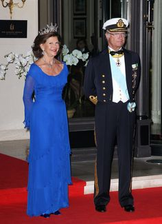 Queen Silvia and King Carl XVI Gustaf of Sweden are seen leaving their Hotel for a gala celebrating the royal wedding of Prince Albert II of Monaco and Charlene Wittstock. (July 2, 2011 - Source: PacificCoastNews.com)