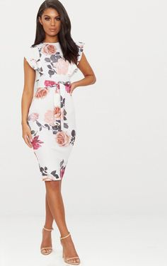 3f5581aec61 White Floral Print Frill Detail Midi Dress