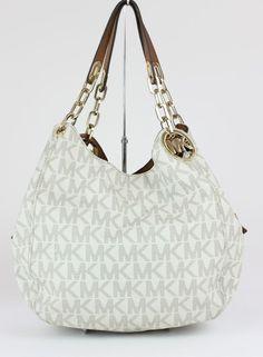 035dbfc943fa Michael Kors Vanilla MK Signature PVC Fulton Large Shoulder Tote Bag