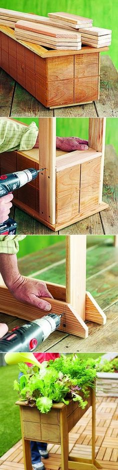 This 3½-foot-tall box, is an especially easy project, taking only a few hours to build. Just buy a ready-made redwood window box at the nursery and attach sturdy legs. Then all you have to do is fill it with soil and plant.....