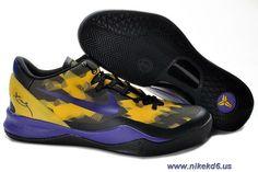 New 555035-103 Nike Zoom Kobe VIII 8 Black Purple Yellow