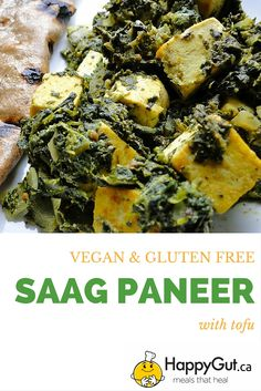 Vegan Saag Paneer  Made with rapini, spinach and tofu.   From happygut.ca #indian #veganpaneer #palak