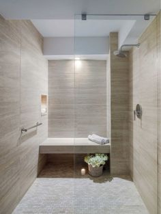 Travertino Marble, This stunning shower was completed by Eolo A&I Design Small Basement Bathroom, Bathroom Layout, Modern Bathroom Design, Bathroom Interior, Master Bathroom, Modern Design, Bathroom Ideas, Silver Bathroom, Bathroom Designs