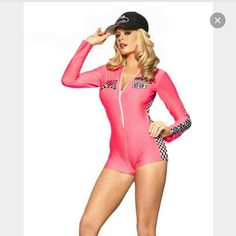 Pink Racing Costume Size M/L Worn once for halloween. Missing one patch but everything else is in tack. Zipper works great. Be Wicked Other