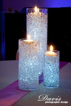 Shannon's Custom Florals Wedding Centerpieces Springfield MO and Eureka Springs beads Diy Wedding Centerpieces Candles Wedding Table Centerpieces, Wedding Decorations, Table Decorations, Centerpiece Ideas, Winter Decorations, Blue Centerpieces, Water Beads Centerpiece, Quinceanera Centerpieces, Birthday Decorations