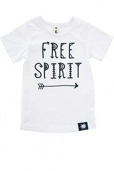 Cool Toddler Sized ShirtUnisex whiteshort sleeve slogan t-shirt with black screen printed Free Spirit. 100% cotton jersey. Designed in Melbourne, Australia.