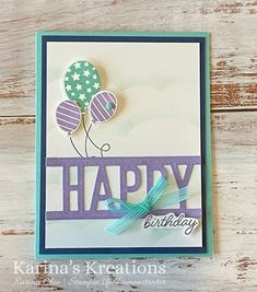 Karina's Kreations: Cute card made with the So Much Happy Stamp Set Cute Cards, Stampin Up Cards, Birthday Celebration, 3 D, Celebrations, Card Ideas, Birthday Cards, Catalog, Card Making