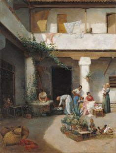 Manuel Wssel de Guimbarda: Lavando en el patio (1877) Colección Carmen Thyssen-Bornemisza en préstamo gratuito al Museo Carmen Thyssen Málaga