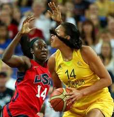 Tina Charles of the U.S. defends against Australia's Liz Cambage during their semifinal matchup. The U.S. recovered from a halftime deficit to win 86-73 and advance to the gold medal game. #london2012