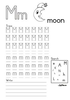 Alphabet Printable M for Moon FREE! • KraftiMama English Grammar Worksheets, Camping Games, Afrikaans, Printable, Moon, Writing, Night, Free, The Moon