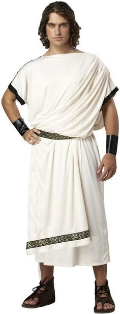 Roman Clothes This deluxe toga costume is great as a god costume or a college frat party. Wear this mens toga paired with our womens goddess Halloween costumes. Toga Halloween Costume, Mens Toga Costume, Adult Halloween, Halloween Clothes, Halloween Parties, Homemade Halloween, Halloween Cosplay, Toga Party, Greek Toga