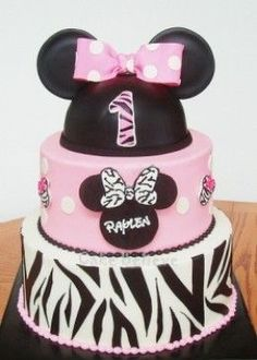 This gorgeous Minnie Mouse zebra print cake is one of the great ideas featured on my party page.  Other Minnie zebra cake and cupcake supplies include baking liners, custom made paper toppers, cake pans and more.