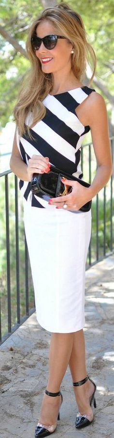Black and white top with white skirt.