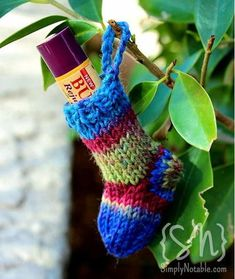 Pint-Sized Christmas Knit Stocking | This knit stocking pattern is the perfect size for a lip balm!